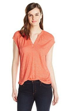 Lucky Brand Coral Dot Top