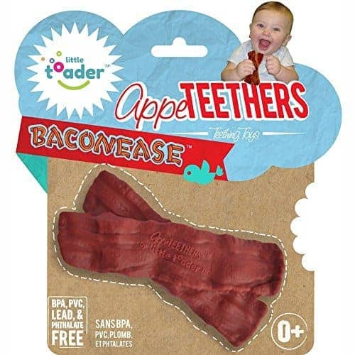 Funny baby shower gifts: Bacon teether