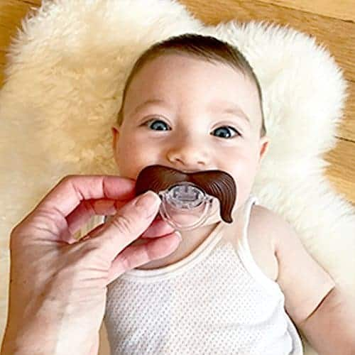 Funny baby shower gifts: Mustache pacifier
