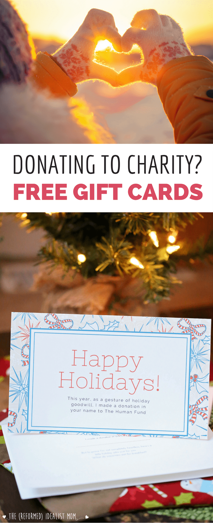 Most people appreciate when someone makes a donation to charity in their name instead of giving a physical gift. But how do you wrap a donation? Give one of these free printable Christmas and holiday cards to your loved ones to let them know about your donation gift...plus after reading what's written inside, they won't be able to hold back a smile! Includes three different designs.