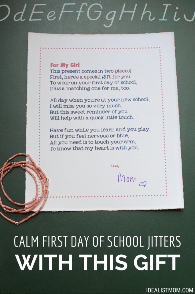 Calm First Day of School Jitters With This Sweet Gift {Printable}