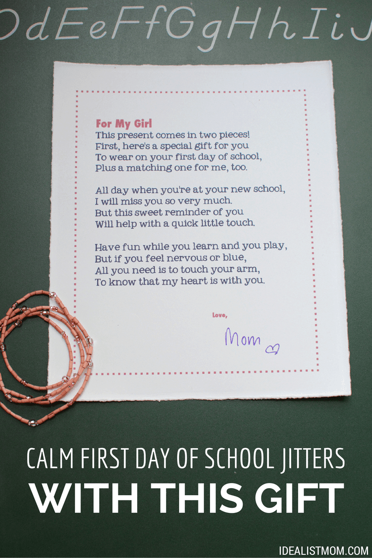 calm first day of school jitters with this sweet gift