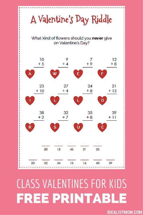 These Funny Valentines for Kids Sneak in Some Math Practice, Too