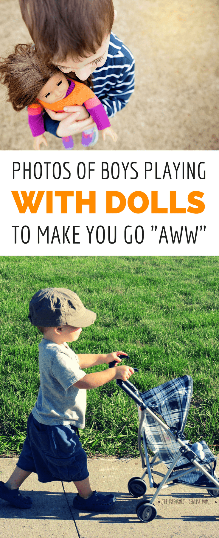 Get ready to smile big because these photos of boys playing with dolls will melt your heart! Boys who practice nurturing skills grow into caring husbands and fathers, so go ahead and give your son a doll. A doll is one of the BEST toys you can give your kid to foster healthy development of empathy, fine motor skills, and more. *This is perfect for boy moms and dads!