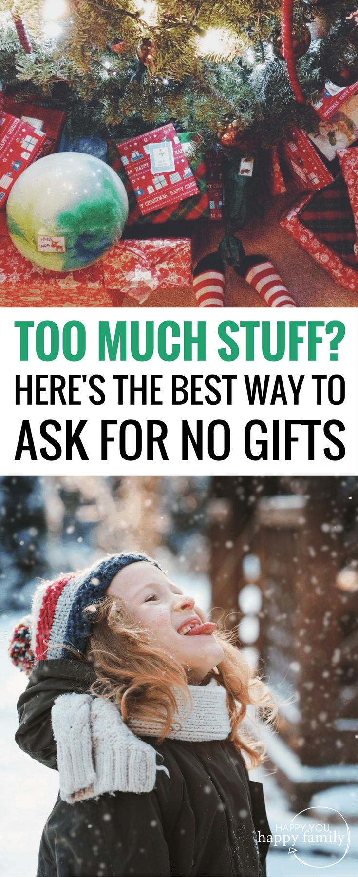 If your kids already have too much stuff, here's the best way to politely request no Christmas gifts this year...without offending anyone! This is perfect for families who are striving for a minimalist Christmas with a focus on experience gifts and non-toy gifts. Great tips for talking to grandparents and extended family about skipping gifts this holiday season! #christmasgifts #minimalist #simpleliving
