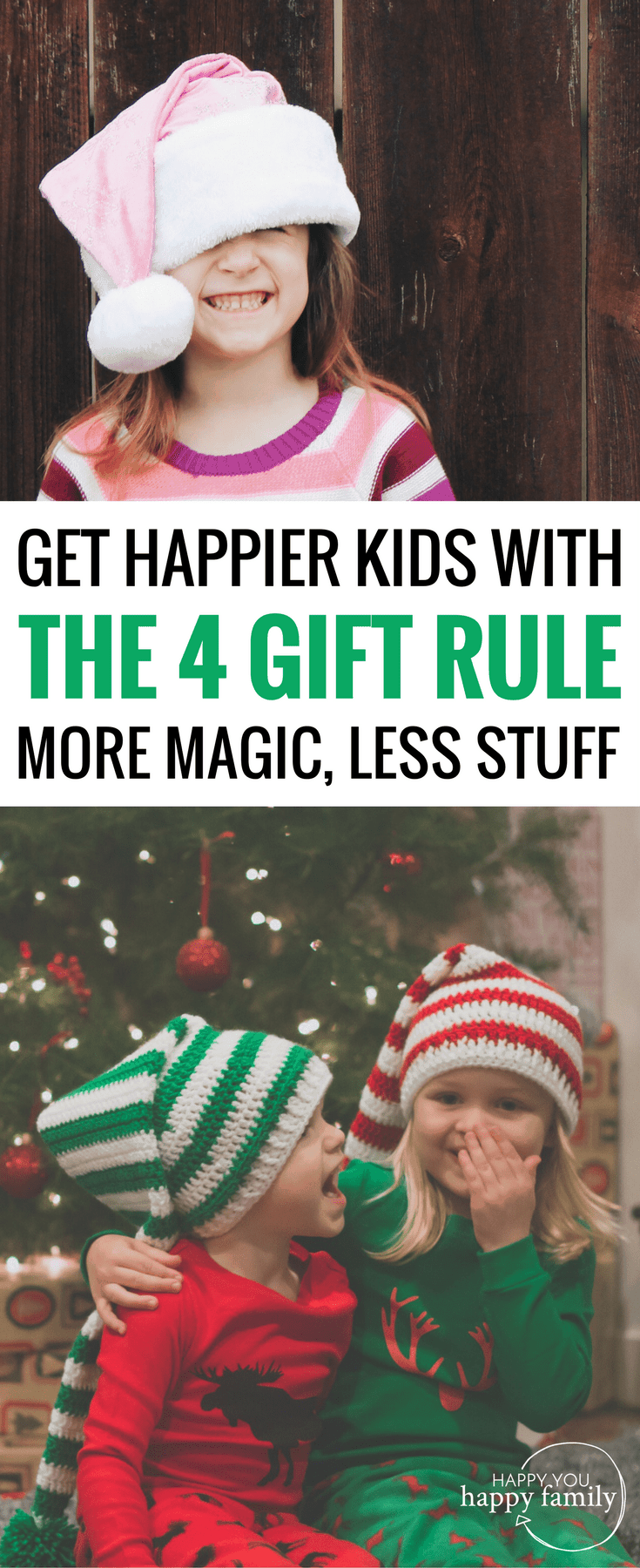 Interested in the 4-gift rule for Christmas but worried your kids will revolt? This post is SO HELPFUL because it gives you everything you need to adopt the 4-present tradition for your family. And here's the BEST part: Your kids will actually be happier with just 4 gifts for Christmas! All the gotchas to avoid plus a list of the best