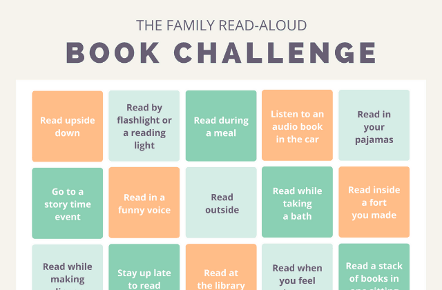 The best reading challenge for kids: Family read-aloud bingo