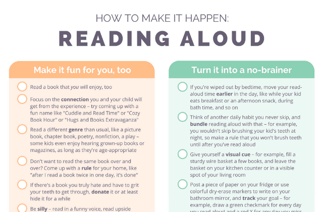 Cheat sheet of practical tips for how to make reading aloud happen even when you're busy