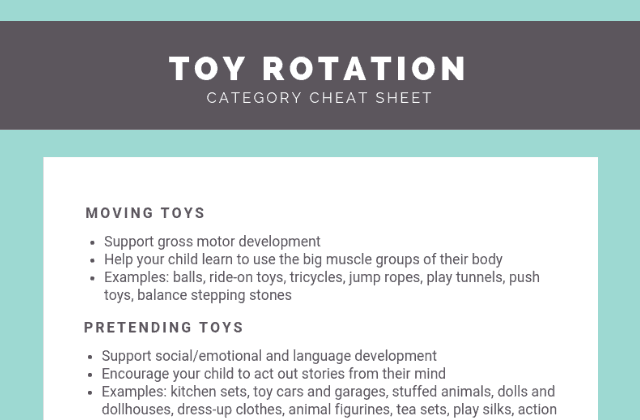 Free printable toy rotation kit: Toy organization cheat sheet