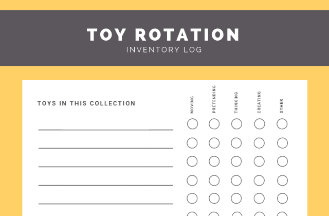 Free printable toy rotation kit: Inventory log