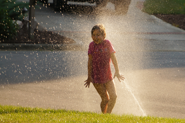 When you need fun activities for kids at home, don't forget to head outside and turn on the sprinklers
