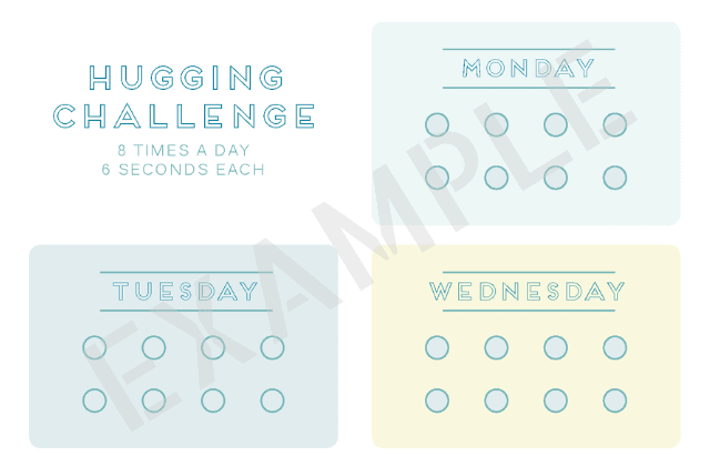 Preview of printable: Hugging Challenge tracker